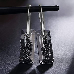 Image 2 - Black Crystals From Swarovski Elements Gold Color Drop Earrings For Women Party Vintage Rectangle Pendant Statement Jewelry Gift