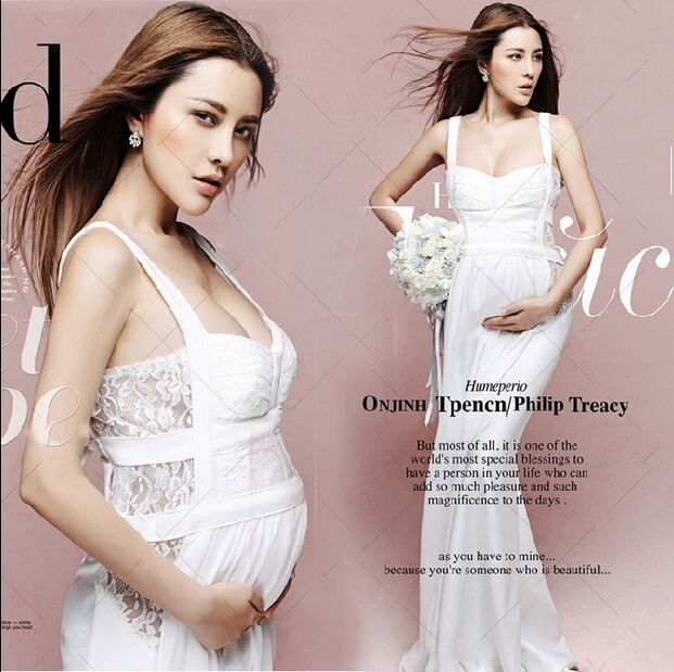 Maternity Photography Props Pregnant Women Noble white Long Cute Elegant Sexy Dress Romantic Photo Shoot Fancy costume Size L maternity pregnant women photography fashion props long dress white romatic see through personal portrait nightdress size s l