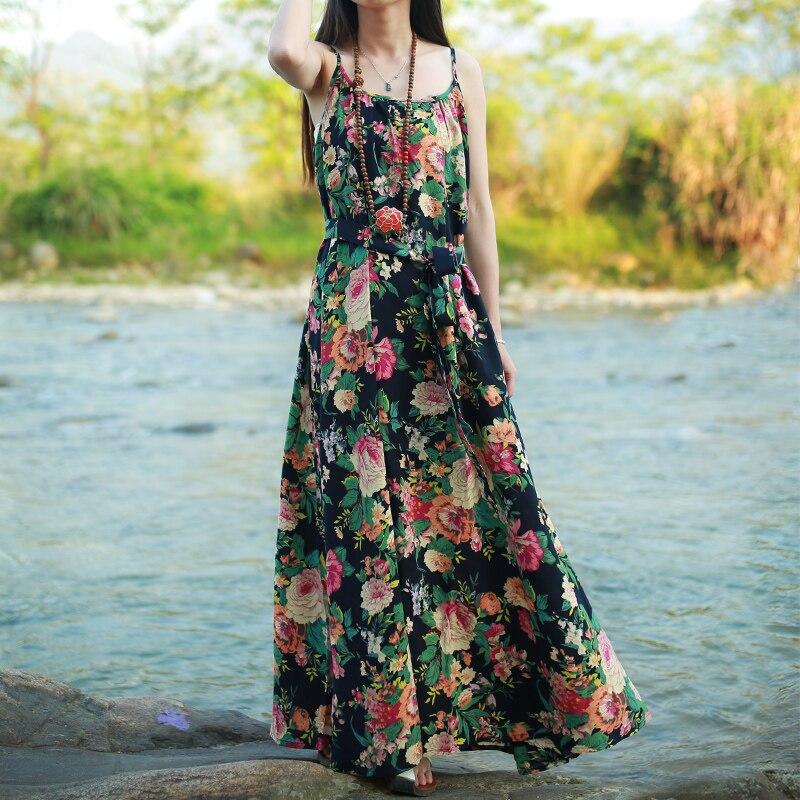 LZJN Original Maxi Slip Dress 2019 Ljetni Sarafan Pamučno posteljina - Ženska odjeća - Foto 4
