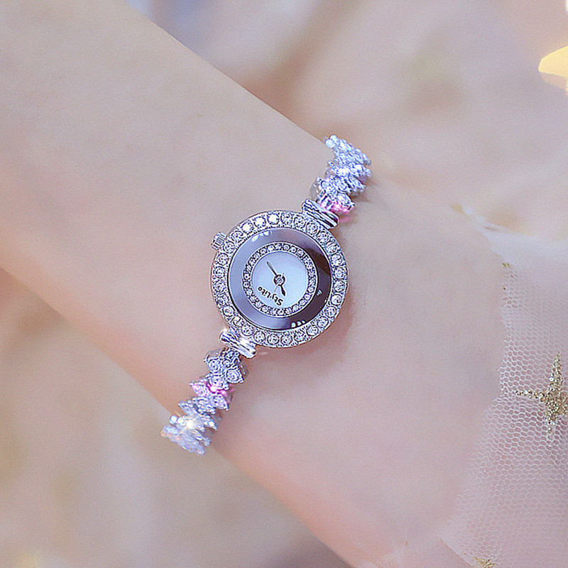 New Luxury Brand Lady Crystal Watch Women Dress Watch Fashion Silver Gold Quartz Watches Rhinestone Stainless Steel Wristwatches