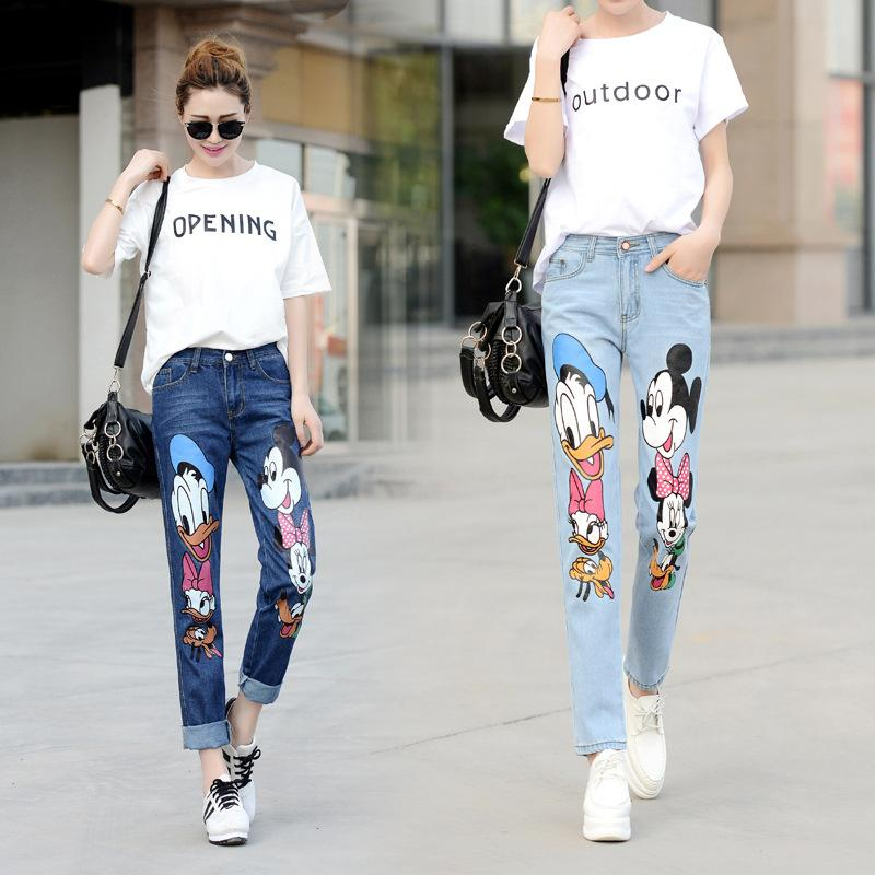 Cartoon Printing Jeans For Women Stylish Mid Waist Stretch Skinny Designer Fashion Pencil Capris Jeans Free Shipping Wholesale
