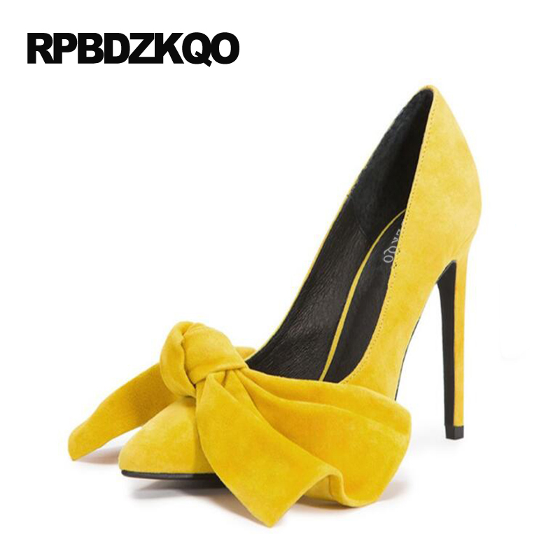 High Heels Scarpin 10 42 Unique Cute Bow Pink 33 Plus Size Extreme Pumps 2017 Ladies Yellow Shoes Pointed Toe Bow Tie Slip On все цены
