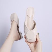 купить Cute Mules Women Soft Flats Shoes Ladies Low Heels Slippers Women Summer Autumn Women Shoes 2019 Fashion Slip On Shoes Plus Size по цене 1049.34 рублей
