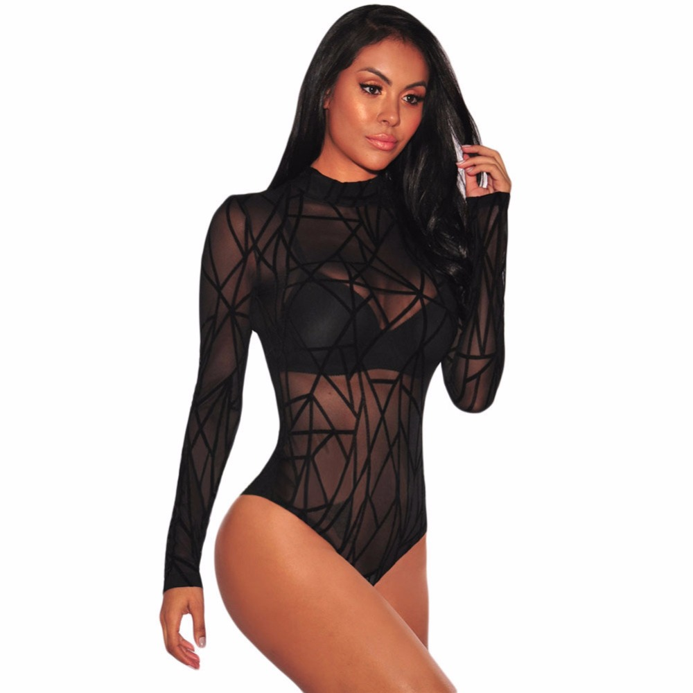 Professional Sale Tobinoone Black Long Sleeve Bodysuit Women 2018 Autumn Turtleneck Body Femme Woman Bodycon Zipper Bodysuit Hollow Out Jumpsuits Women's Clothing