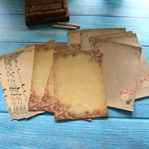 Letter Paper Stationery Kraft Flower-Design Drawing Vintage 16sheets Brown