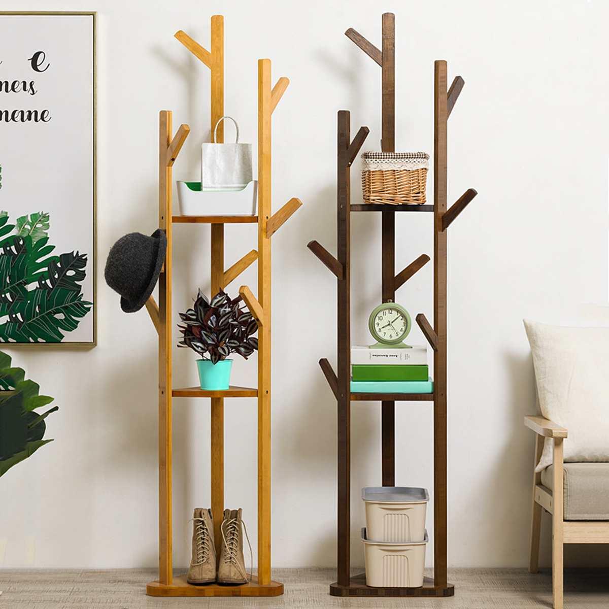 8 Hooks 3-Layer Shelf Solid Bamboo Hanger Floor Standing Coat Rack Home Furniture Clothes Hanging Storage Rack