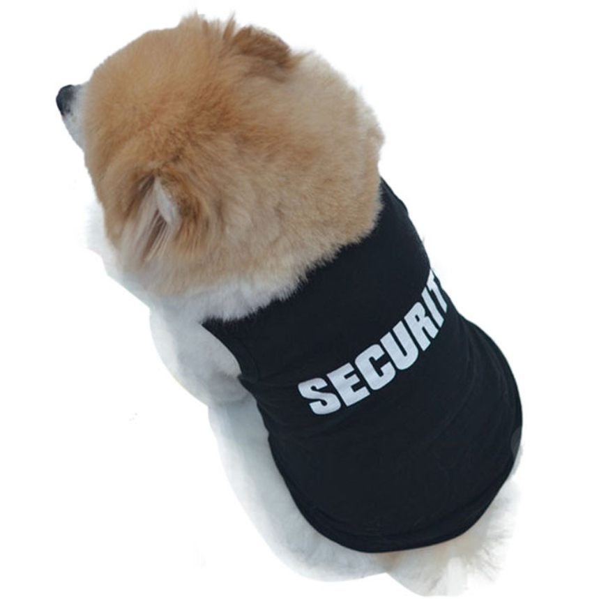 Top Grand Fashion Summer Cute Dog Pet Vest Cotton Puppy T Shirt SECURITY Print Doggy Cloth Clothing Dress On Sale