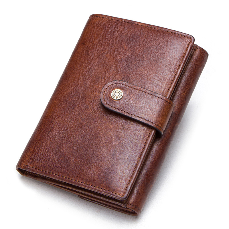 CONTACT'S crazy horse cow leather RFID men wallets credit card holders mens wallet with coin pocket brand walet male clasp purse 2