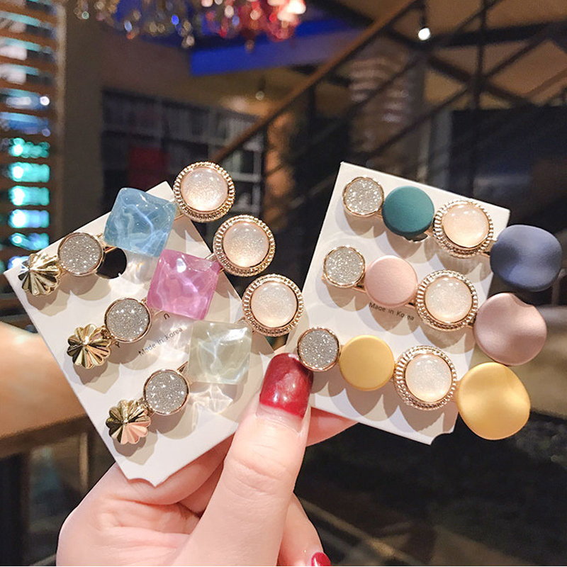Ruoshui Candy Korean Style Crystal Hairpins For Woman Metal Hairgrip BB Clip For Girls Shinning Barrettes Hair Accessories Tiara