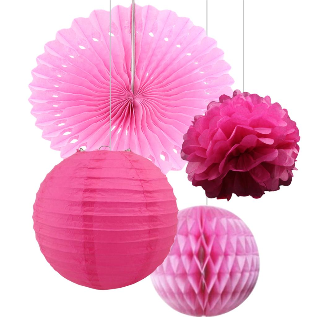 Pink/Green Party paper fan paper lantern paper pompom flower ...