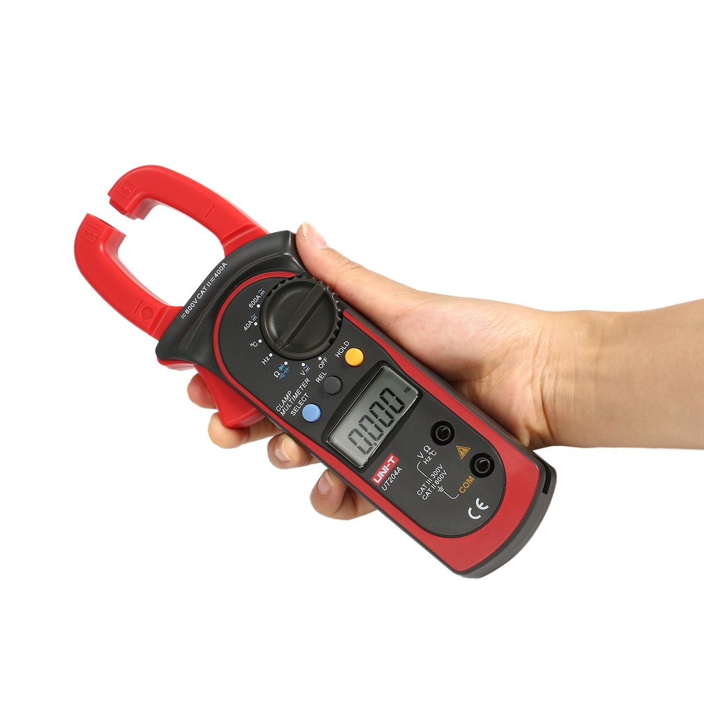 UNI-T UT204A 4000 Counts Auto Range Digital Handheld Clamp Multimeter Volmeter with Auto Range DC/AC Voltage Current Temperature auto range clamp style digital multimeter with strap dt3266l