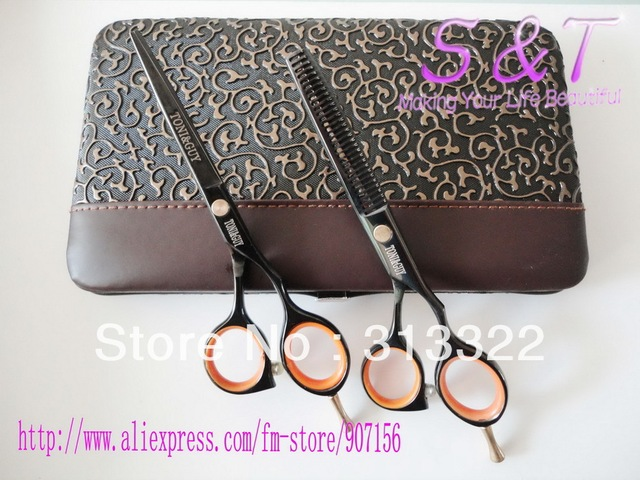 5.5 in.Professional Hairdressing Hair Scissors set 58HRC Hair Cut Cutting Barber kit razor cutting shear and thinning scissor