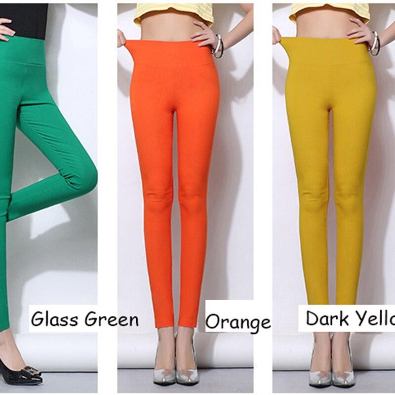 Cintura alta mujeres pantalones lápiz 2019 Color del caramelo - Ropa de mujer - foto 6