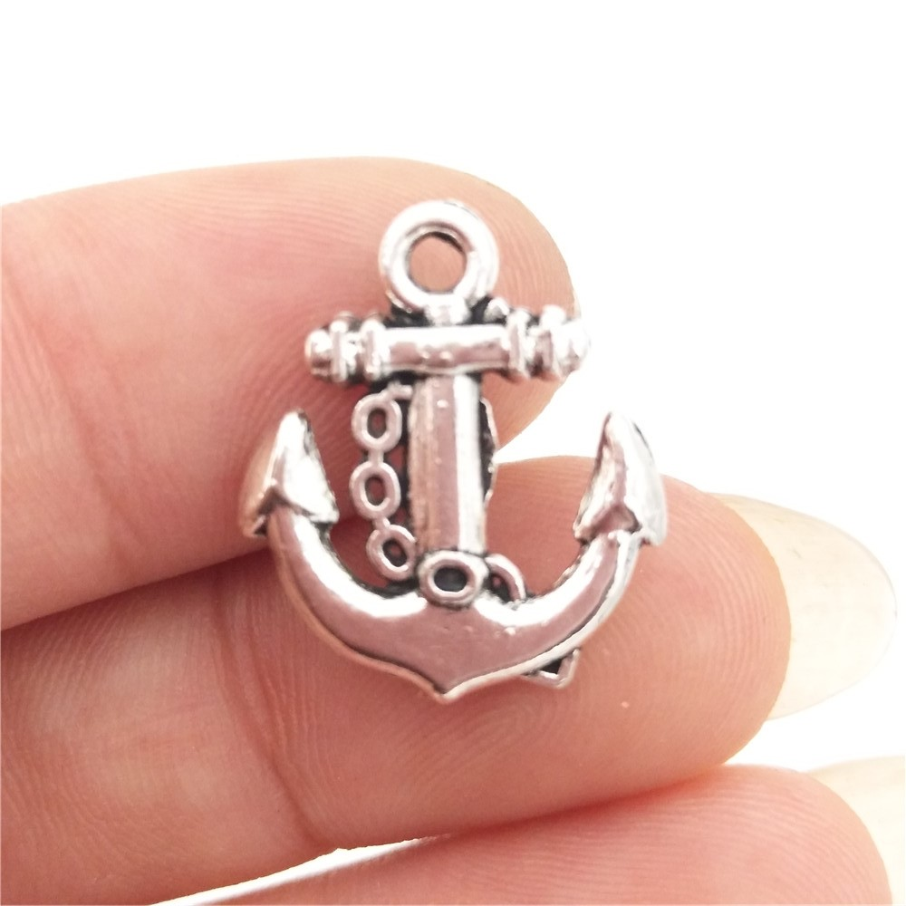 Metal Silver Plated Nautical Charms// Pendants 5 Anchor Charms 18mm