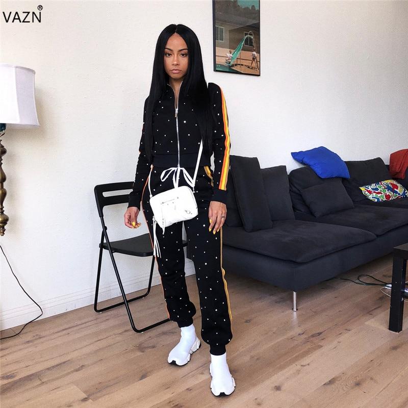 VAZN Autumn Top Quality High Casual Design 2018 Women 2 Piece Set Solid Beading Full Sleeve Full Length Elegant Lady Set LM9011