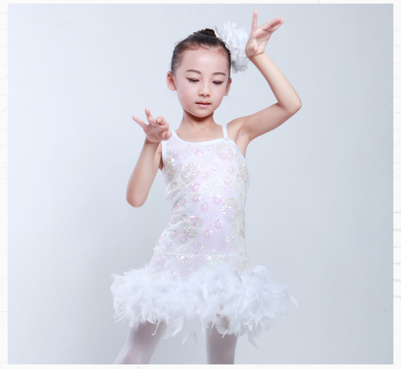 white feather kids children girl latin salsa cha cha tango dress dance wear performance