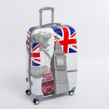 28 inch pc male and female hardside trolley luggage on universal wheels,uk flag,london tower,london bus travel rolling luggages