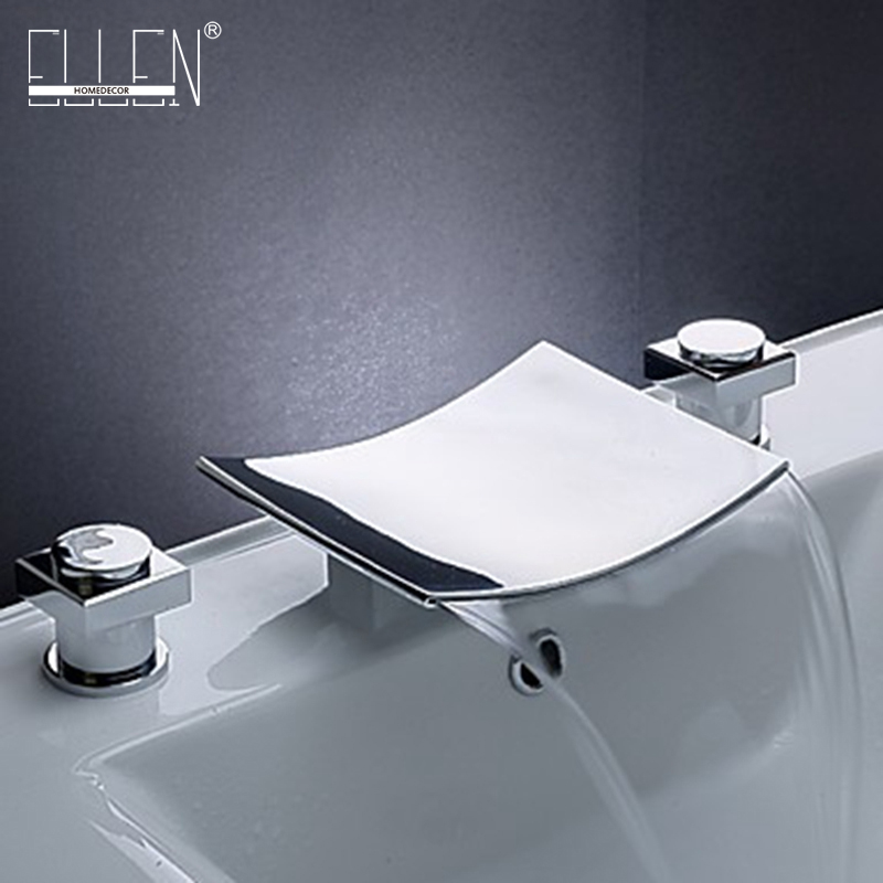 Bathroom Waterfall Faucet Chrome Finish Basin Sink Double Handle With Widespread Spout