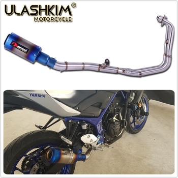 Free Shipping R25 R3 MT-03 MT03 Motorcycle Full Exhaust System Mid Link Pipe Muffler Slip On For Yamaha R25 R3 MT03 2014-2018 motorcycle exhaust modified scooter clamp on motorbike mid pipe slip on muffler exhaust mid pipe for yamaha mt 07 mt07 mt 07