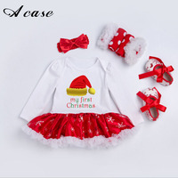 New Baby Christmas Jumpsuit Dress 4 Pcs Sets Clothing 2017 Long Sleeve Clothes Crawling 0 2