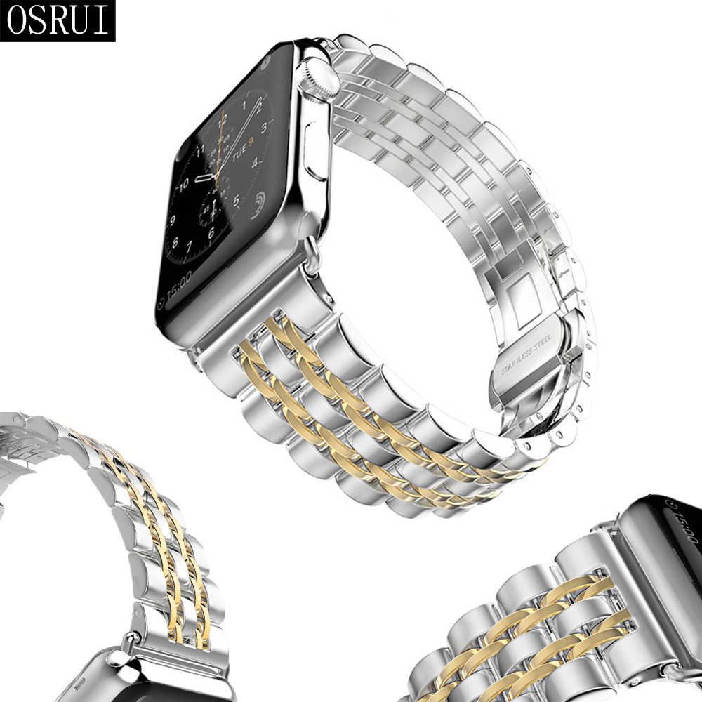 Correa para apple watch banda 42mm 38mm correa iwatch 44mm/40mm 4 3 2 DE ACERO INOXIDABLE pulsera pulseira apple watch 4 accesorios