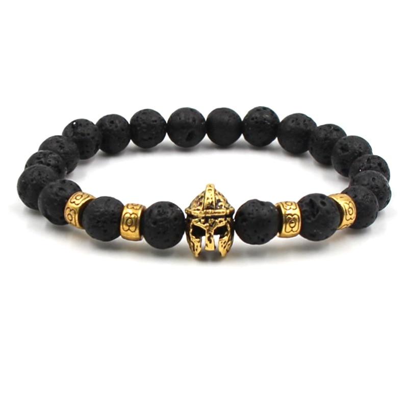 Natural stone Gold Head Bracelets Volcanic Stone Black Couple Beaded Bracelets Men Jewelry Fashion Woman Bracelets 2019