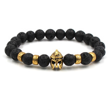 Natural stone Gold Head Bracelets Volcanic Stone Black Couple Beaded Men Jewelry Fashion Woman 2019