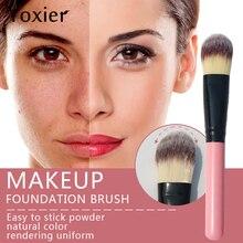 Yoxier Pink Tongue-Shaped Foundation Brush Eye Corner Nose Wing Foundation Brush Powder Concealer Brush Makeup Beauty Tool 1Pcs