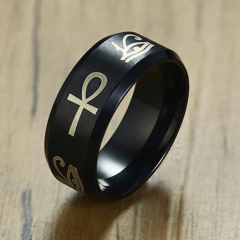 Men Egyptian Hieroglyph Eye Of Horus Ankh Cross Ring in Black Stainless Steel Wedding Band Male Jewelry
