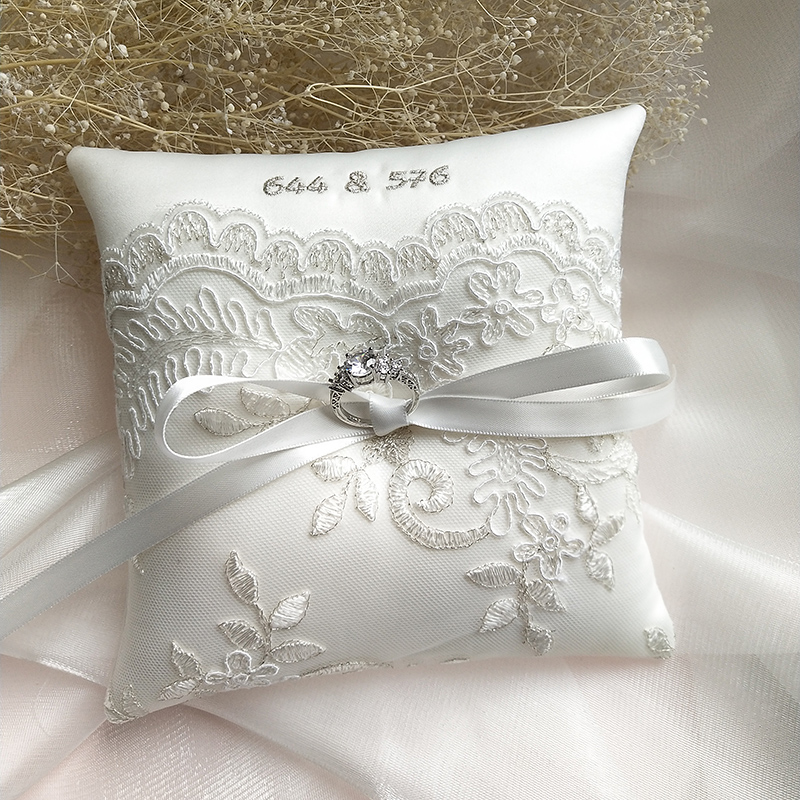 Broderie de mariage anneau oreiller Top qualité dentelle fleur porteur oreillers saint valentin fête décoration fournitures diverses tailles