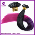 50 strands black/purple/fuschia 16inch 1grams ombre 3-tone color synthetic keratin pre-bonded flat fusion tip hair extensions