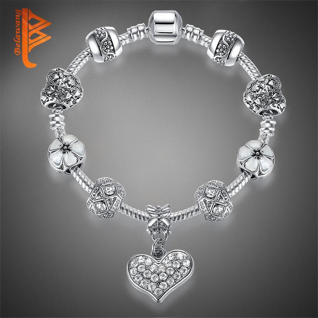 Trendy Vintage Cubic Zirconia Enamel Flowers Beads Bracelet Antique Silver Color Heart Charm Bracelets Bangle Women Jewelry