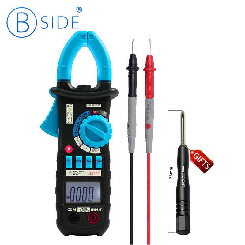 BSIDE ACM02 Digital Clamp Meter Multimeter Temperature Frequency Capacitance Tester AC Current 600A UT202 my64 digital multimeter dmm frequency capacitance temperature professional meter tester w hfe test