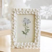 Europe Resin picture frame White Flower Picture Frame Rectangular Photo Frame Gift Home Living Decoration Wedding Photo Frame