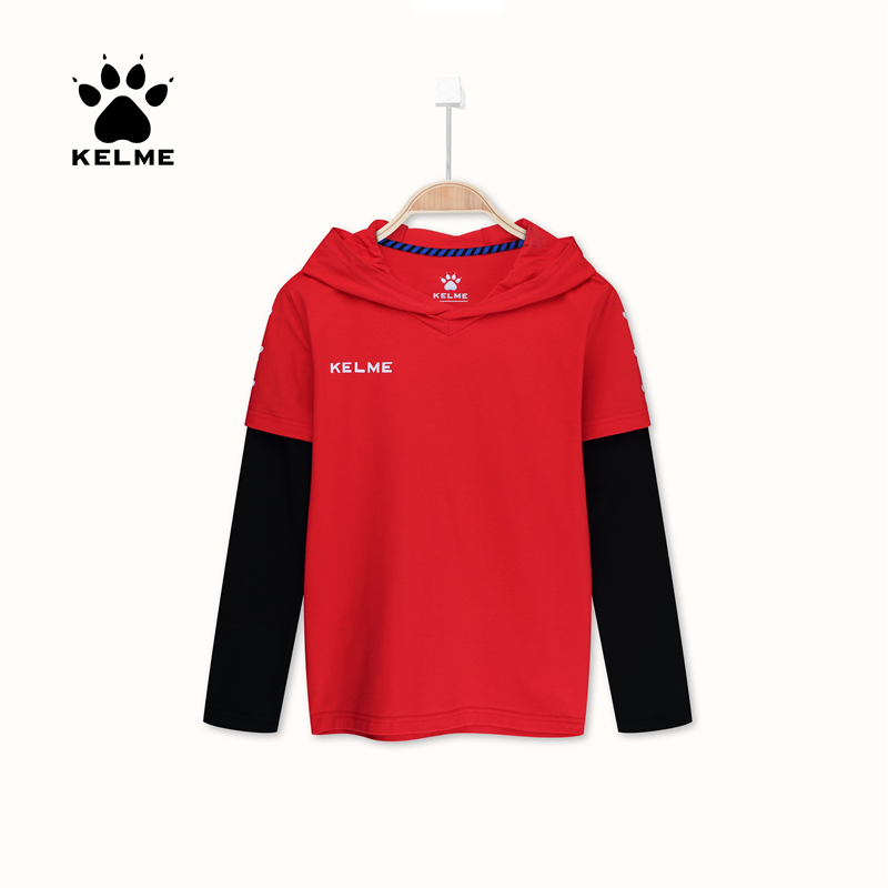 KELME 2018 Spring Autumn Leisure Boys Girls Long Sleeve T-Shirt Hooded sports trend T-shirt 3983016
