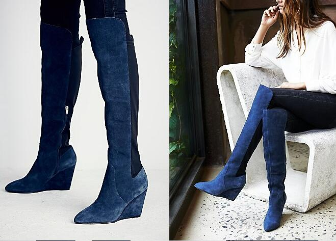 Fall winter stretchy slim fit over knee boots pointed toe wedge ...