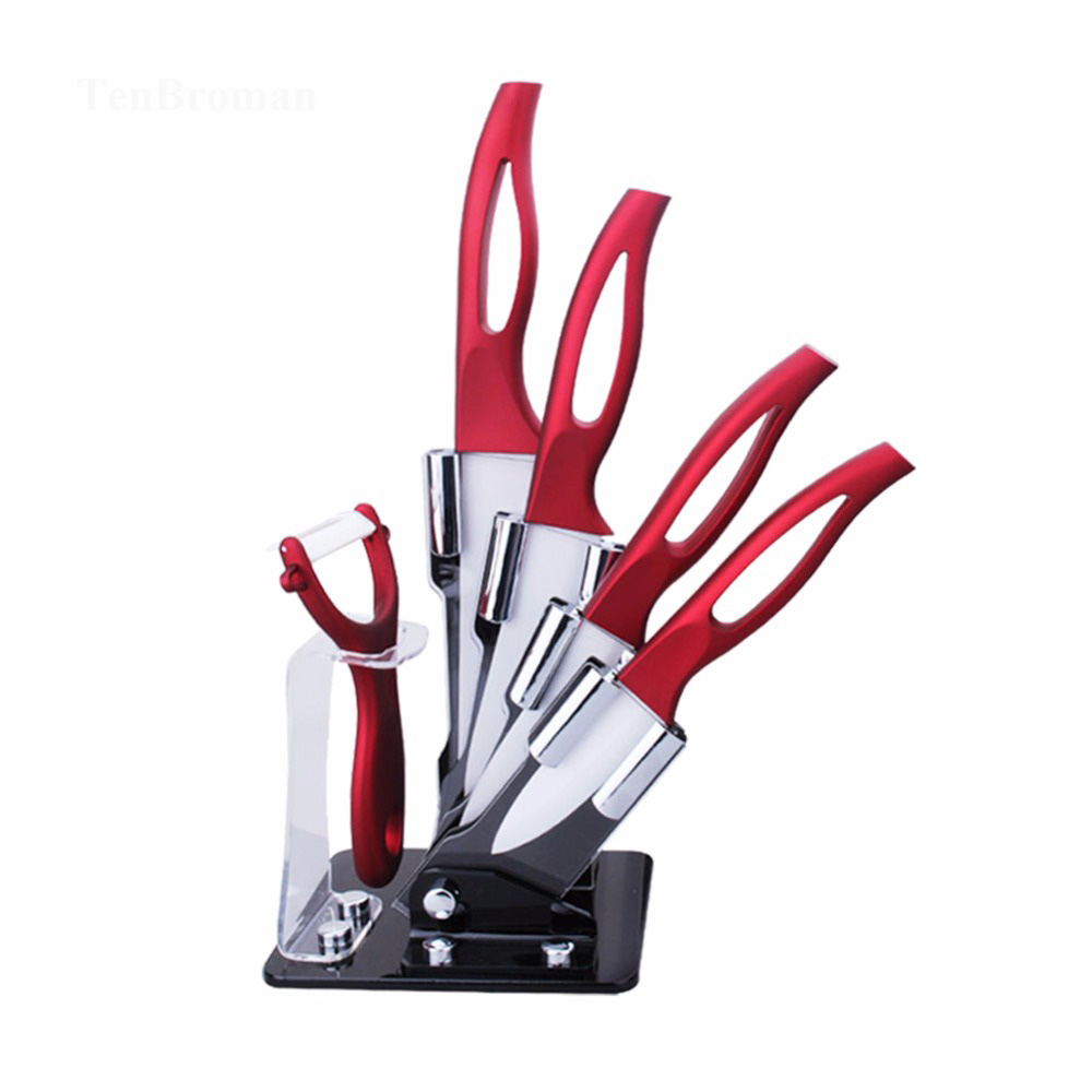 TENBROMAN 3/4/5/6 Inch 6pcs Beautiful Red Kitchen Ceramic Knife Set With Hollow Handle Peeling Tool And Holder
