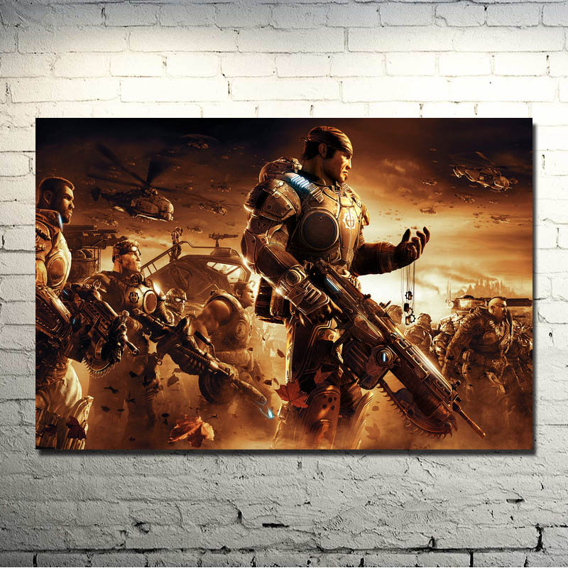 Gears of War 3 4 Art Silk Poster Print 13x20 24x36 inches Hot Military Shooting Game Pictures For Living Room Decor 012