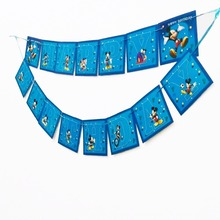 1pc/set mickey Party Pennant Bunting Birthday Flag Banners Kids Cartoon Supplies Decoration flag
