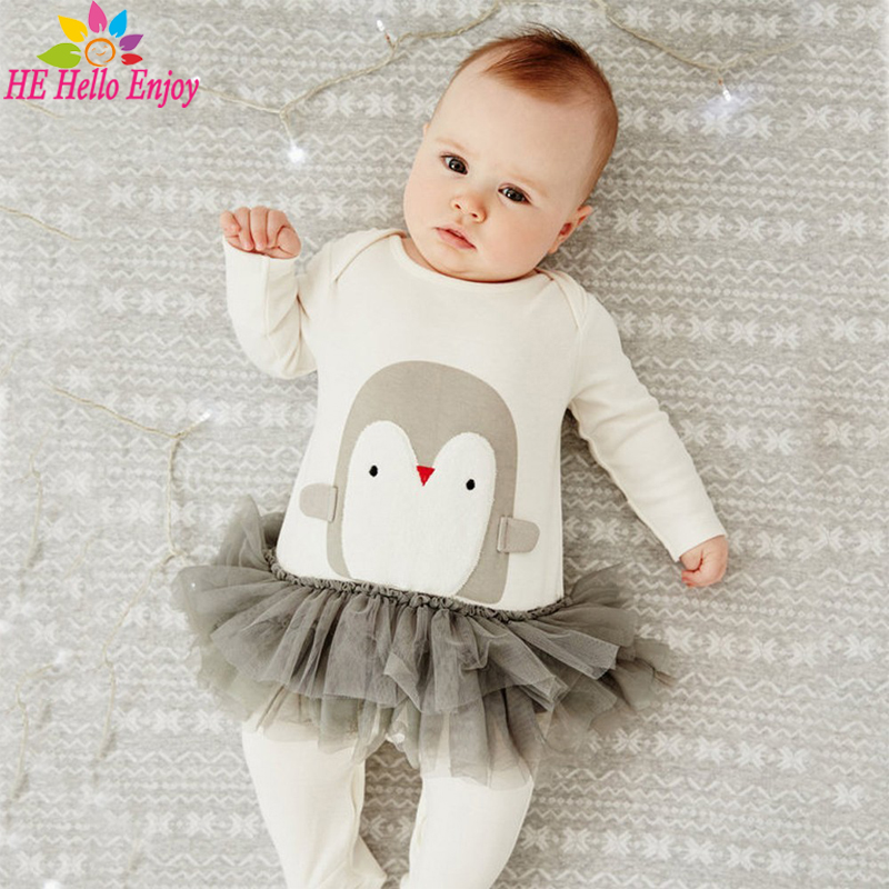 HE Hello Enjoy newborn baby girls clothes 2017 infant clothing casual cartoon baby rompers boys long-sleeved Penguin jumpsuits cotton baby rompers set newborn clothes baby clothing boys girls cartoon jumpsuits long sleeve overalls coveralls autumn winter