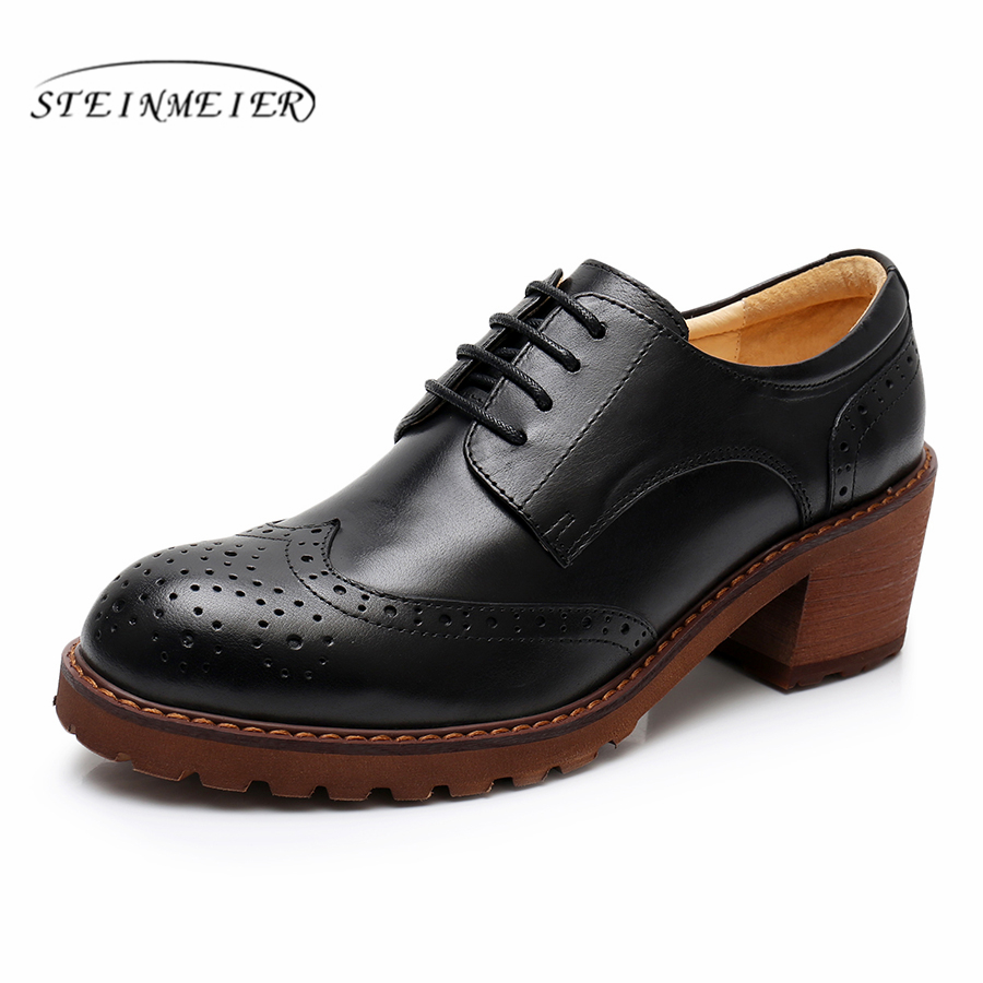 Yinzo mujeres oxford bombas zapatos vintage cuero genuino señora bombas oxford tacones zapatos para mujeres negro marrón zapatos 2019 primavera-in Zapatos de tacón de mujer from zapatos    1
