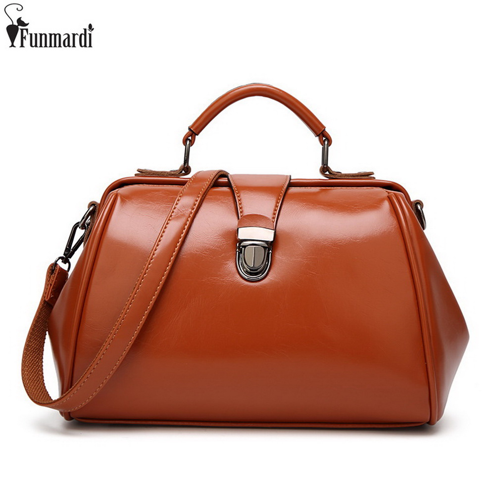 FUNMARDI European And American Style Handbag Vintage Oil Wax Leather Bags Simple Women Shoulder Bags Luxury Design Tote WLAM0071