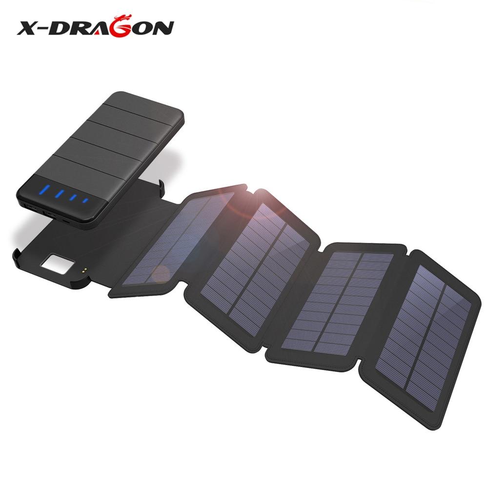 X-DRAGON 10000 mAh Solaire chargeur de batterie batterie portable solaire Amovible chargeur solaire étui pour iphone xiaomi Smartphone