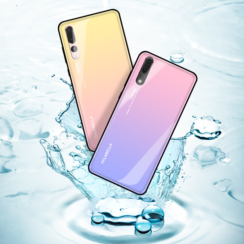 on sale 664e2 d7b8f US $10.0 9% OFF|Gradient Aurora Tempered Glass Case for Huawei P20 Case P20  Pro Lite Nova 3e 3 3i Case Colorful Smooth Protector Cover P20 Shell-in ...
