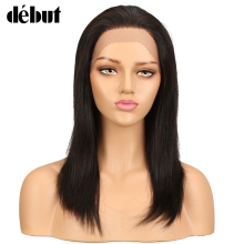 Дебют Бразильский 4x4 синтетические волосы на кружеве человеческие Искусственные парики прямые волосы Реми парик для черный для женщин 14 18 22 26