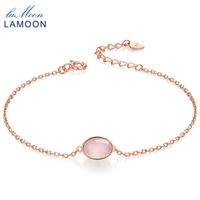 LAMOON 925 Sterling Silver Fine Jewelry 100% Natural Owalne Różowy Kwarc różowy HI023 S925 Charm Bransoletki Bransoletki dla Kobiet Mody