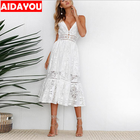 Fashion Lace Dress White Backless Women Sexy V Neck button Dresses Casual Beach Female Vestidos ouc3344