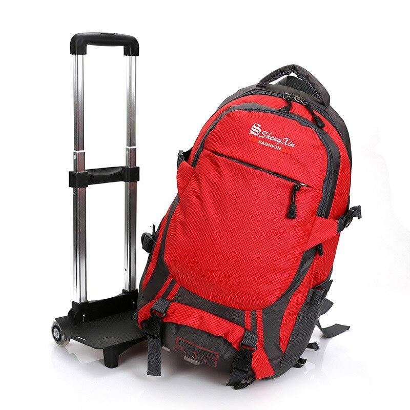 ФОТО New Men Backpack Women Waterproof Trolley Travel Backpack Bag With Wheels Casual Multifunction Bolsas Schoolbags Wheels Bagpack