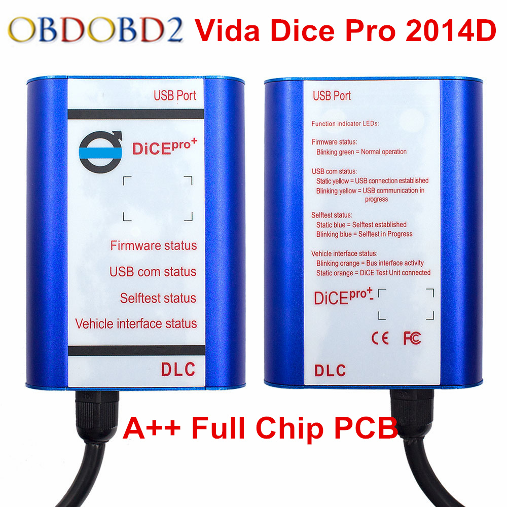 2018 Blue Shell Vida Dice Pro Scanner For Volvo Vida Dice 2014D Car Diagnostic Tool Full Chip Golden PCB Firmware Update Support