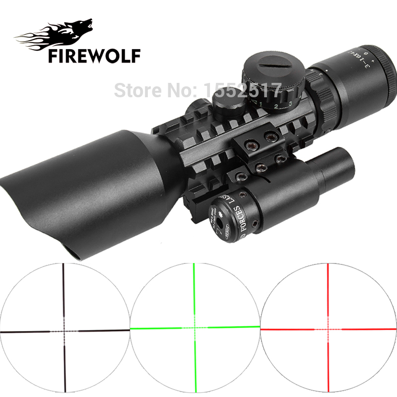 M9 3-10x42 Mil-Dot Reticle Red Green Dot Sight Rifle Scope With Red Laser Airsoft Caza 20mm 11mm Mount Rail Mira Para 3 10x42 green laser m9a tactical rifle scope red green mil dot reticle with side mounted green laser guaranteed 100%